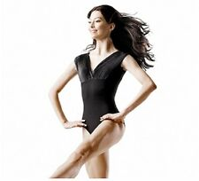 NWT Dance Bloch Black Cap Sleeve Leotard Pleated Front Ladies Small Adult L5912