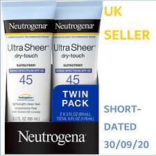 2X Neutrogena Ultra Sheer Dry-Touch SPF 45 Broad Spectrum Sunscreen Lightweight