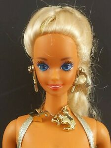 Mattel Barbie 1991 Sun Sensation Doll Gold Swimsuit Beach Played-with