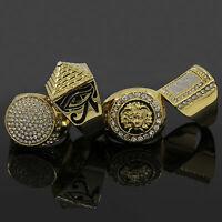 14K Gold Plated Hip Hop Cz 4 Rings Bundle w/Medusa Size 7 8 9 10 11 12)