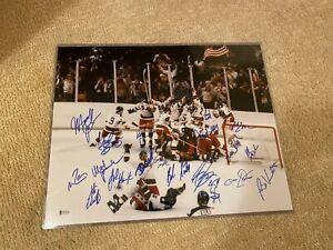 1980 USA Olympics Hockey Team Signed Miracle On Ice 16x20 Photo 20 Autos BAS COA