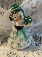 1957 RARE HAPPY ST PATRICK DAY LEFTON ANGEL GREEN HAT BLACK PIGTAIL MARCH FIGURE