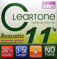 Cleartone 7411 Phosphor Bronze Acoustic Guitar Strings 11-52 custom lite gauge
