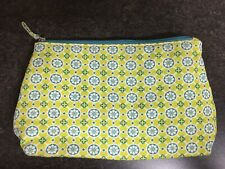 Contents Cosmetic Bag Make Up Lime Green Aqua Medallion Floral Travel Case