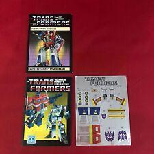 Transformers G1 Vintage - 1984 - Starscream - Instructions & Unused Stickers