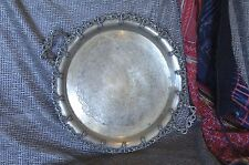 Old Ornate Silver Plated Serving Tray …beautiful edging & Handles