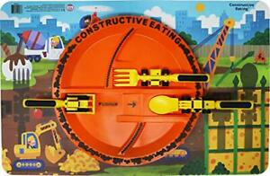 Constructive Eating Construction Combo with Set of 3 Utensils Plate and Place...