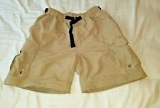 REI Men's L Shorts Cargo Tan Belted Nylon Zip Fly Hiking Camping Small 32