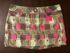 Candie's Pink Green White Plaid Floral Quilt Mini Pencil Skirt 5 ~ NEW W/TAGS!