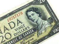 1954 Canada 20 Twenty Dollar Prefix CE Circulated Elizabeth Banknote L669