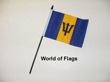"Barbados Small Hand Waving Flag 6"" X 4"" Caribbean Crafts Table Desk Top Display"