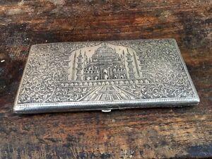Antique Brass Silver Plate Fine Carved Taj Mahal Cigarette Case Cigar Box Empty