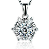 "Women Real Heart Love Snowflake Pendant Necklace Charm Fashion Jewelry 18"" Chain"