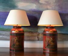 A Pair of Chinese Chinoiserie Tole Tea Canister Brass Gilt Hall Side Table Lamp