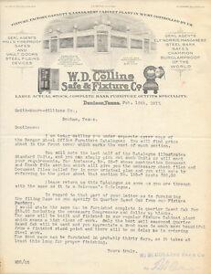 WD COLLINS CANON BALL SAFE BANK FIXTURE VAULT DOOR 1917 LETTERHEAD ORIGINAL!!