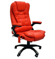 Red Leather Office Massage Swivel Chair Release Tension Back Bottom Thighs