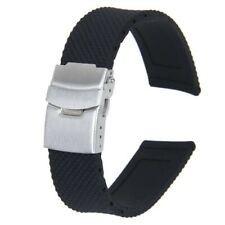 Watch Bands Sport Black Silicone Rubber Watch Strap Deployment Buckle Water F4Z9