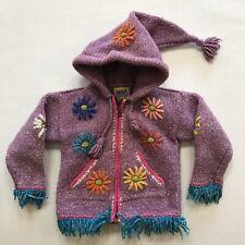 Childrens Knit Sweater Equadorian Ecuador Sacos Pixie Hood Floral Girls Toddler