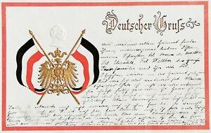 Germany Embossed Kaiser Wilhelm II Antique Postcard Used 1900
