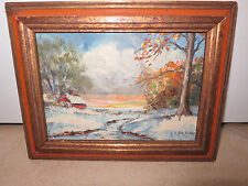 VINTAGE LANDSCAPE Cabin in Woods OIL PAINTING Signed by Simone