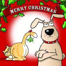 Merry Christmas Card with Dog & Cat -Funny Christmas Card -Xmas Card -Mistletoe