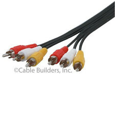 6FT COMPOSITE RCA AUDIO VIDEO CABLE YELLOW WHITE RED 6' for DVD VCR TV 6 FT 6'