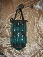 b-00 Lampe formgeblasen 60er Jahre Glas Eisen rustic lamp ceiling lamp Art deco