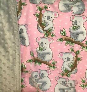 Koala Bear Minky Baby Blanket Girls Pink Gray Minkee Throw Heart Cute