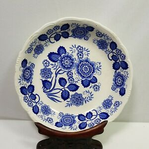 Vintage Blue Floral Mixture Bowl Scalloped Edge Mid Century Modern 8in Tall