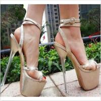 17cm Womens Platform Open Toe New Sandals High Heels Ankle Strap Buckle Shoes Ch