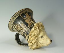 REPRO Ancient Greek Red-Figure Apulian Terracotta Lion Head Rhyton Kyathos Cup