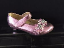 NEW GIRLS JUNIOR  METALLIC OCCASION-PARTY SHOES 1 INCH HEEL SILVER-BLACK-PINK