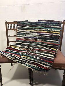 Vintage Scandinavian Hand Woven Rag Rug 70cm X 142cm