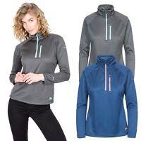 Trespass Lopez Womens Half Zip Fleece Outdoor Top in Grey and Navy