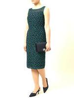 New Jacques Vert dress 16 Chiffon Navy Teal Green shutter Spotted Polka rrp £169