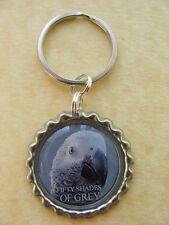 SHADES OF GREY African Grey Parrot  Keyring birthday gift present gray