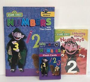 3pc Sesame Street Math Numbers Workbook Flashcards & DVD Preschool Kindergarten