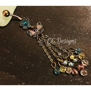 14g Copper Blue Pink Green Cz Flower Butterfly Dangle Beads Belly Ring (#133)