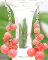 """SALE GENUINE 4-6mm Round Natural Pink coral 2"""" Grape Dangle earring hook -ear106"""
