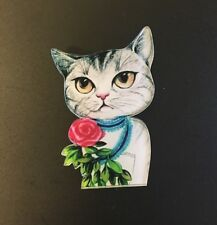 Funky peculiar Negro Tabby Cat Lindo Caballero Cinta Shabby Chic peculiar Broche
