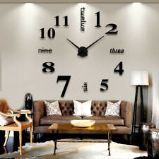 Horloge Murale Design Moderne 3D Noir DIY Multiples elements Auto-collants a ...