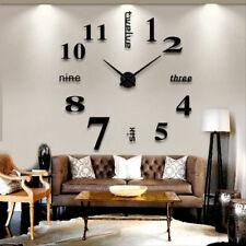 Horloge Murale Design Moderne 3D Noir DIY Multiples elements Auto-collants a ...
