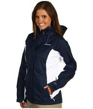 COLUMBIA Arcadia II Jacket Rain Coat Womens size SMALL Hooded Navy Blue/White