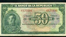 COLOMBIA, BANKNOTES $50.00 PESOS ORO >BAN/REPUBLICA ''> 1958   DIGIT 7