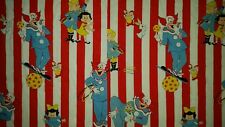 LINED VALANCE 52X25 BOZO THE CLOWN FABRIC TV SHOW COSTUME CIRCUS BALL STRIPES