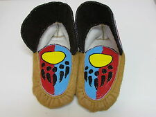 NATIVE AMERICAN FULL BEADED MOCCASINS 10 INCH WITH RED BLUE AND YELLOW BEARCLAW