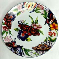 """Vintage Floral and Butterfly Pattern Decorative Display 8"""" Plate"""