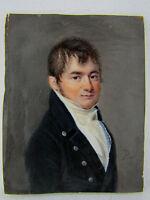 miniatura 19 º empire pintura retrato hombre cuadro firmada Nicolas Pinet