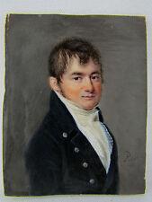 in miniatura 19 ° empire pittura ritratto uomo quadro firmato Nicolas Pinet