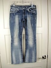 MISS ME Boot Embroidered Rhinestones Bling Jeans Flap Pockets Women's Size: 27